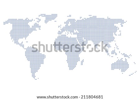 World Map of continents, dotted, blue, on white isolated background - stock photo