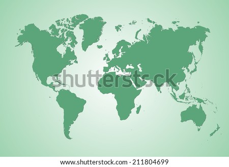 World Map of continents with shadow, green on light green background - stock photo