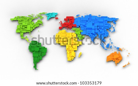 World map of rainbow colors, cube design - stock photo