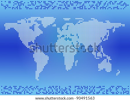 World map of the circles with a pattern - stock photo