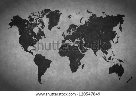 World map on a gray background - stock photo