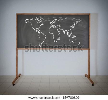 World  map on a school blackboard - stock photo
