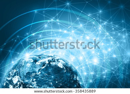 World map on a technological background. Best Internet Concept of global business. Elements of this image furnished by NASA - stock photo
