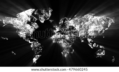 World map on a technological background.  3D render of random lines and particles.  The design consists of fractal elements as a metaphor on the subject of business, science, education and technology.