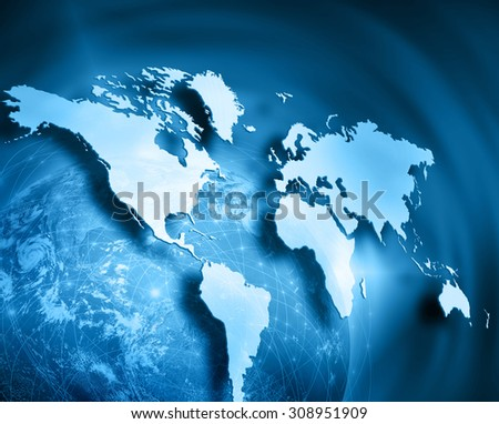 World map on a technological background, glowing lines symbols of the Internet, radio, television, mobile and satellite communications. Best Internet Concept of global business - stock photo
