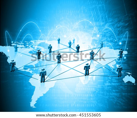 World map on a technological background, glowing lines symbols of the Internet, radio, television, mobile and satellite communications. - stock photo