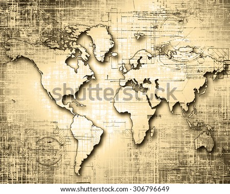 World map on a technological background, old paper style - stock photo