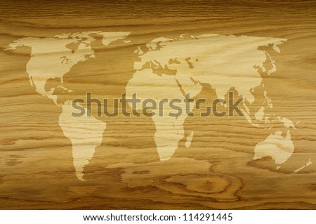 world map on a textured wood grain background - stock photo