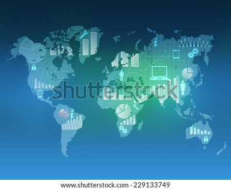 world map on an abstract background with icons inside