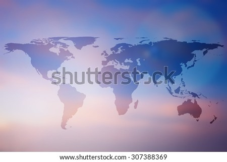 World map on beautiful  blurred backgrounds : blurred twilight sky backdrop with flare light,pastel tones color,use for decorate and design and etc. - stock photo