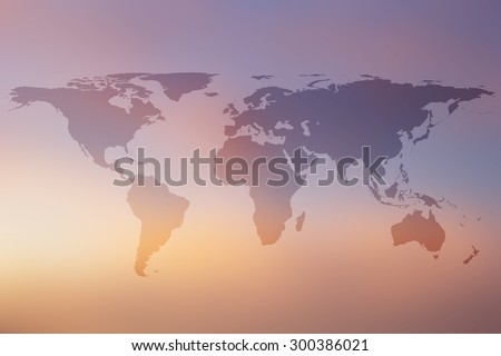World map on beautiful colorful blurred backgrounds - stock photo