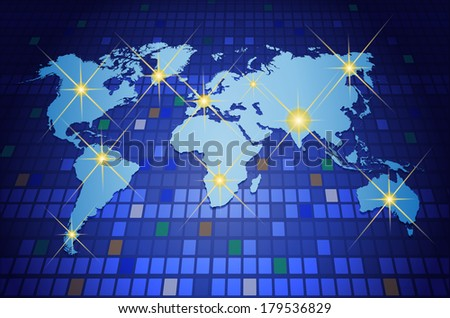 World map on blue background. - stock photo