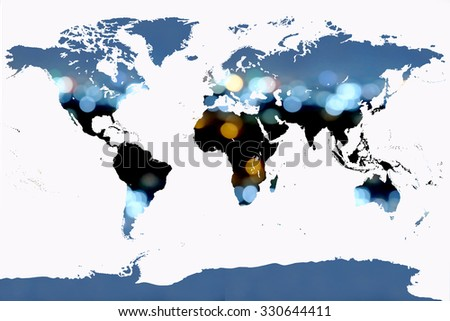 world map on blur bokeh light in city background - stock photo