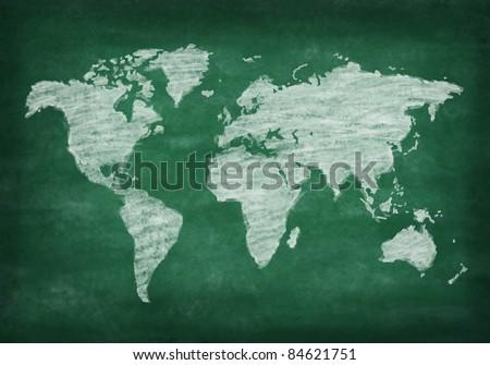 world map on chalkboard ,chalk drawing - stock photo