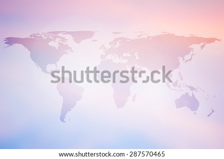 World map on colorful blurred backgrounds. - stock photo