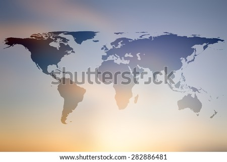 world map on colorful blurred sunset/sunrise hours background:abstract backdrop picture with silhouette land of global concept:travel and journey board concept:blur beautiful display transportation. - stock photo