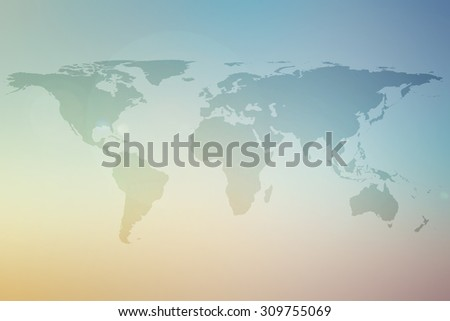 world map on colorful blurred sunset sunrise hours background:abstract backdrop picture with silhouette land of global concept:travel and journey board concept:blur beautiful display transportation. - stock photo