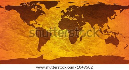 world map on creased paper - amber version - stock photo