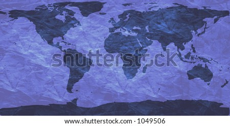 world map on creased paper - blue version - stock photo