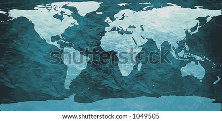 world map on creased paper - cyan version - stock photo