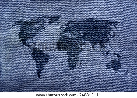 world map on denim jeans background - stock photo
