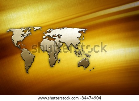 world map on golden plate