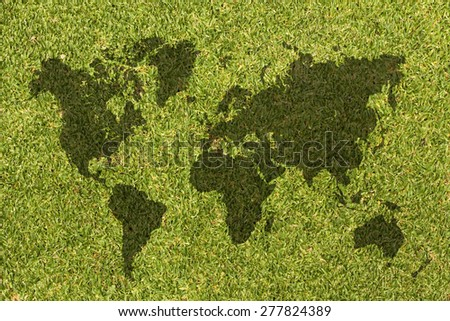 World map on grass texture background