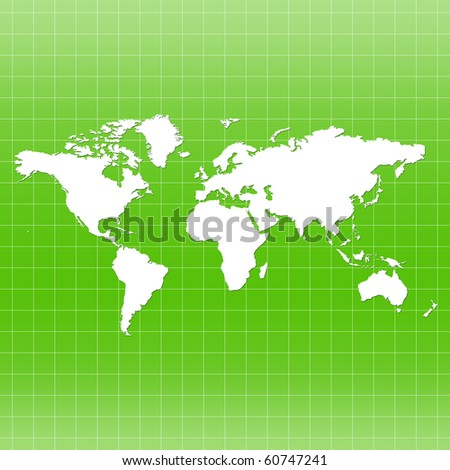 World Map on Grid - green color - stock photo