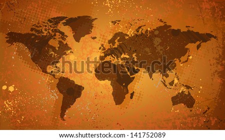 World map on grunge background. Raster version. Vector version is also available. - stock photo