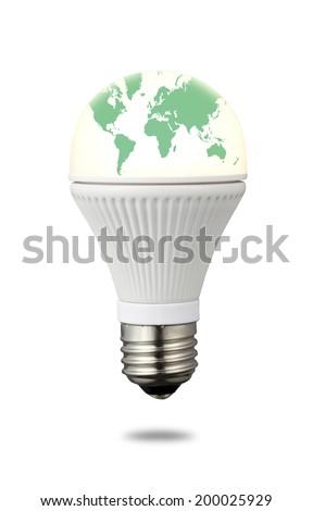 World Map on LED Light Bulb/ Ecology image - stock photo