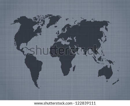 World map on linen background - stock photo
