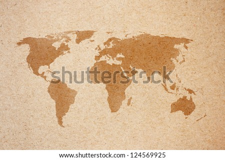 world map on natural brown recycled paper - stock photo