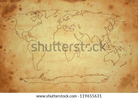 world map on old brown paper