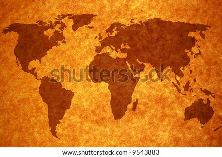 world map on old page background for your designs Map traced: http://www.lib.utexas.edu/maps/world_maps/world_pol02.jpg copyright:http://www.lib.utexas.edu/maps/faq.html#3.html - stock photo