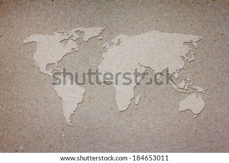 World map on old paper background - stock photo