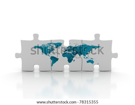 world map on puzzle. - stock photo