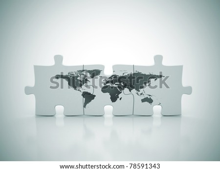 world map on puzzle - stock photo