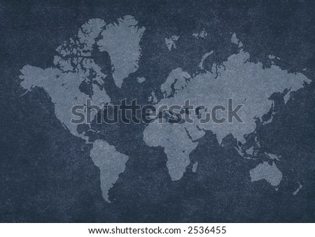 world map on rusty texture. - stock photo