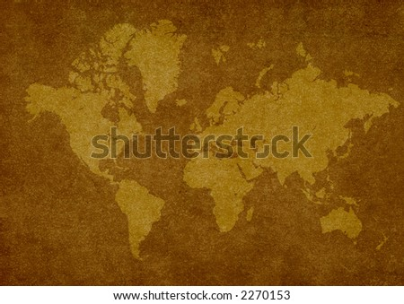world map on rusty texture.Map - stock photo