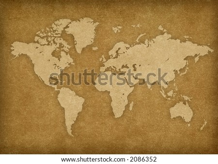 world map on rusty texture.Map from - stock photo