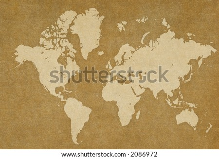 world map on rusty texture.Map traced - stock photo