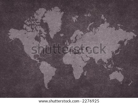 world map on rusty texture.Map used on to trace - stock photo
