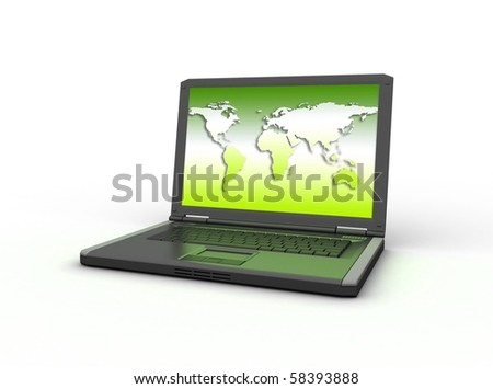World map on the computer