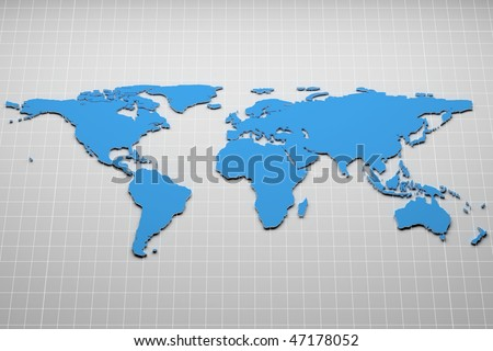 World map on the grid. 3d illustration. - stock photo