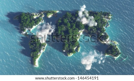 World map on the water, island with  trees and clouds. - stock photo