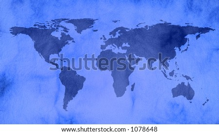 world map on vintage paper - stock photo