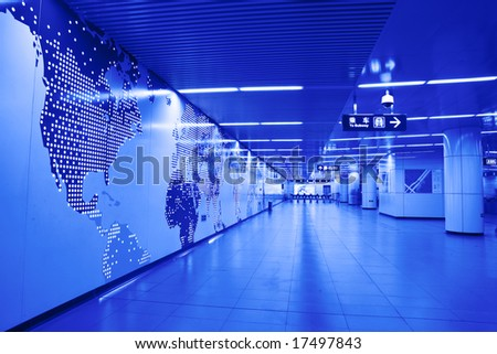 world map on wall at Beijing subway station - stock photo