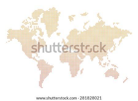 world map orange dots  - stock photo