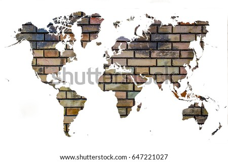 World map outline filled brick wall stock photo 647221027 world map outline filled with a brick wall background gumiabroncs Image collections