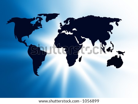 world map over blue - stock photo